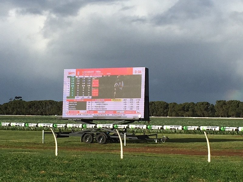 One of our LED screens being used for displaying the scoreboard at a sporting event