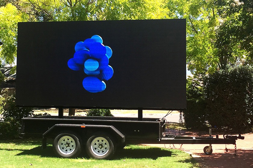 One of our mobile LED Screens stationed on a trailer