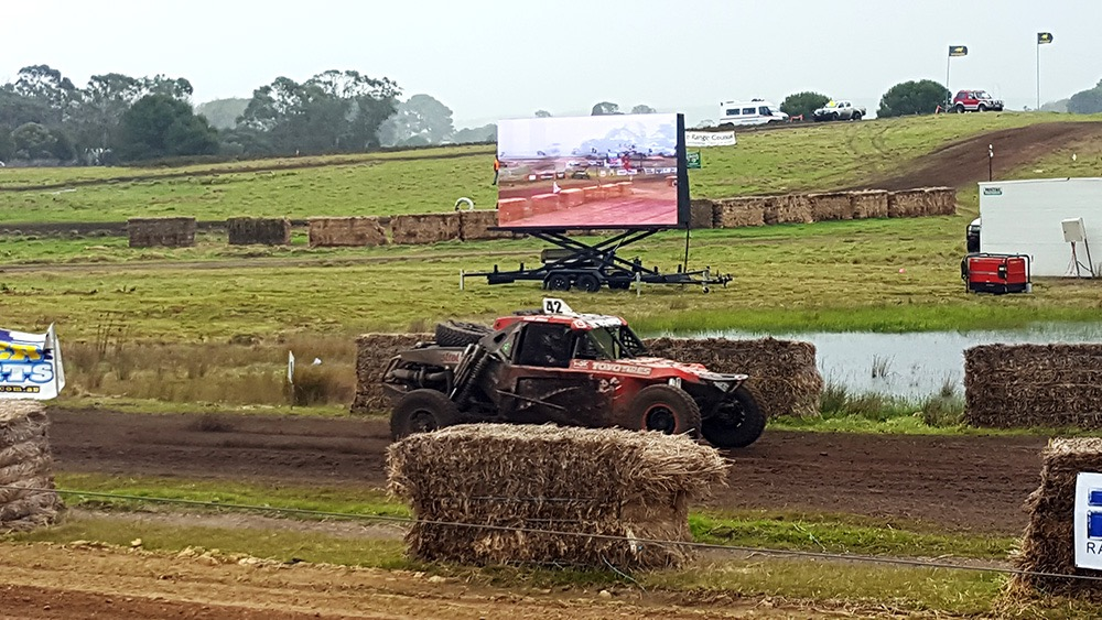 A Big Vision LED Screen displayed at an off-road racing event in Adelaide Hills