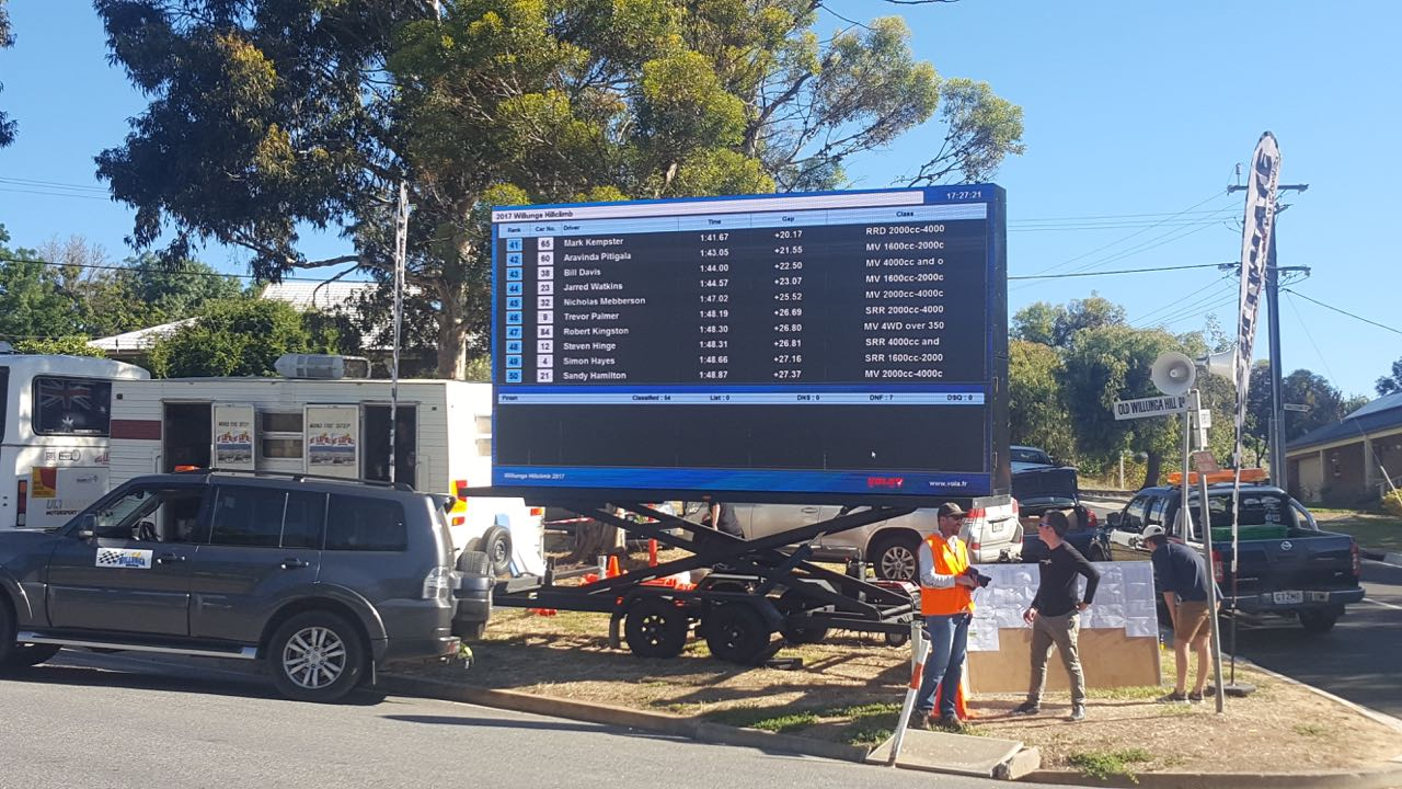 Big Vision Screens supplied LED Screens with an IP65 water rating for the Willunga Hill Climb annual race held in Old Willunga Hill