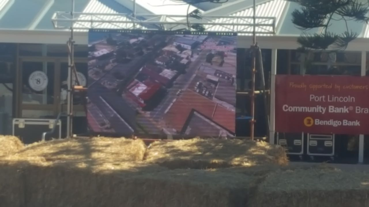 A Big Vision LED Screen positioned on a mobile trailer at Teakle Auto Sprint 2018, held in Port Lincoln