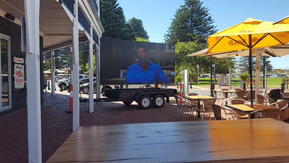 The Crown Hotel in Victor Harbour uses Big Visions' mobile LED Screens for live screening of sporting and musical events