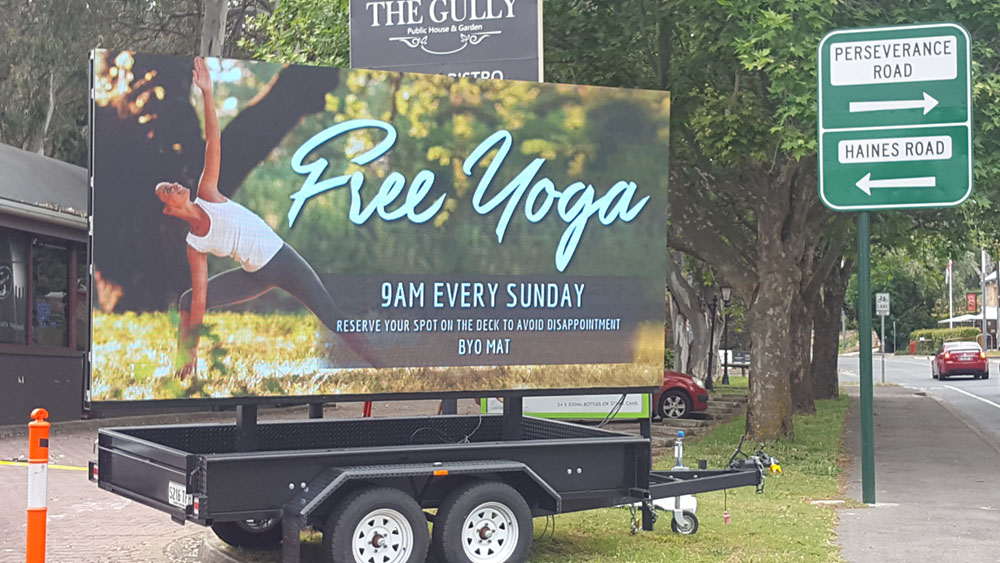 The Gully Public House & Garden in Tea Tree Gully is using our 16.5sqm LED Screen positioned on a mobile trailer, for promoting their free yoga classes