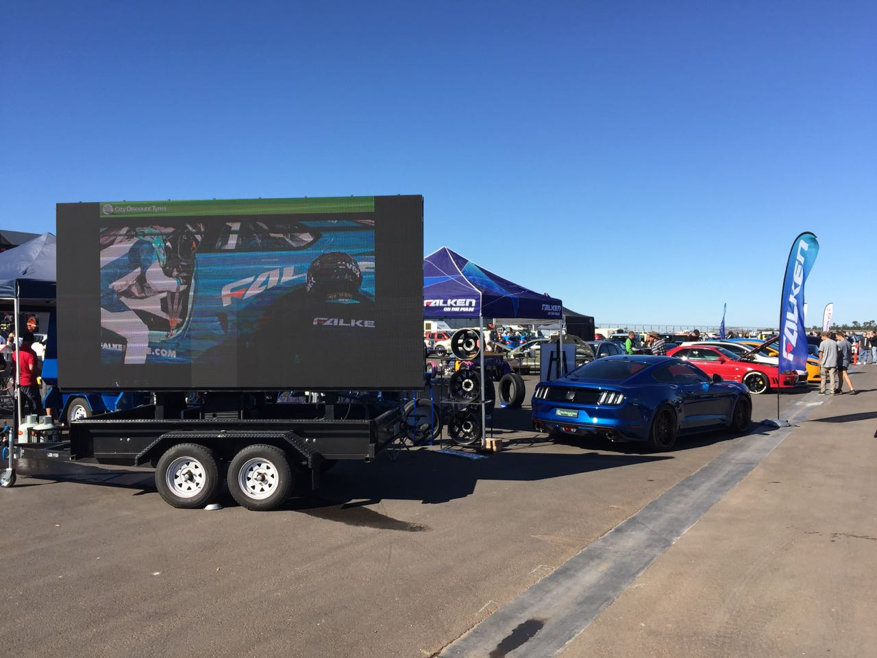 Big Vision Screen's LED screen mounted on our mobile trailer for City Discount Tyres' display at The Bend Motorsport Park in Tailem Bend (SA)