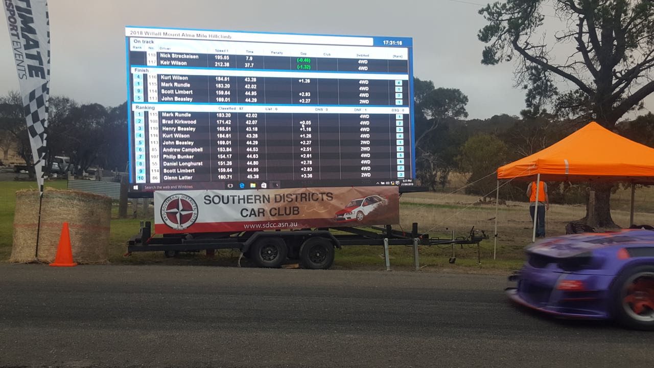 Our LED Screens being used as scoreboard display at the Mt Alama Hill Climb 2018