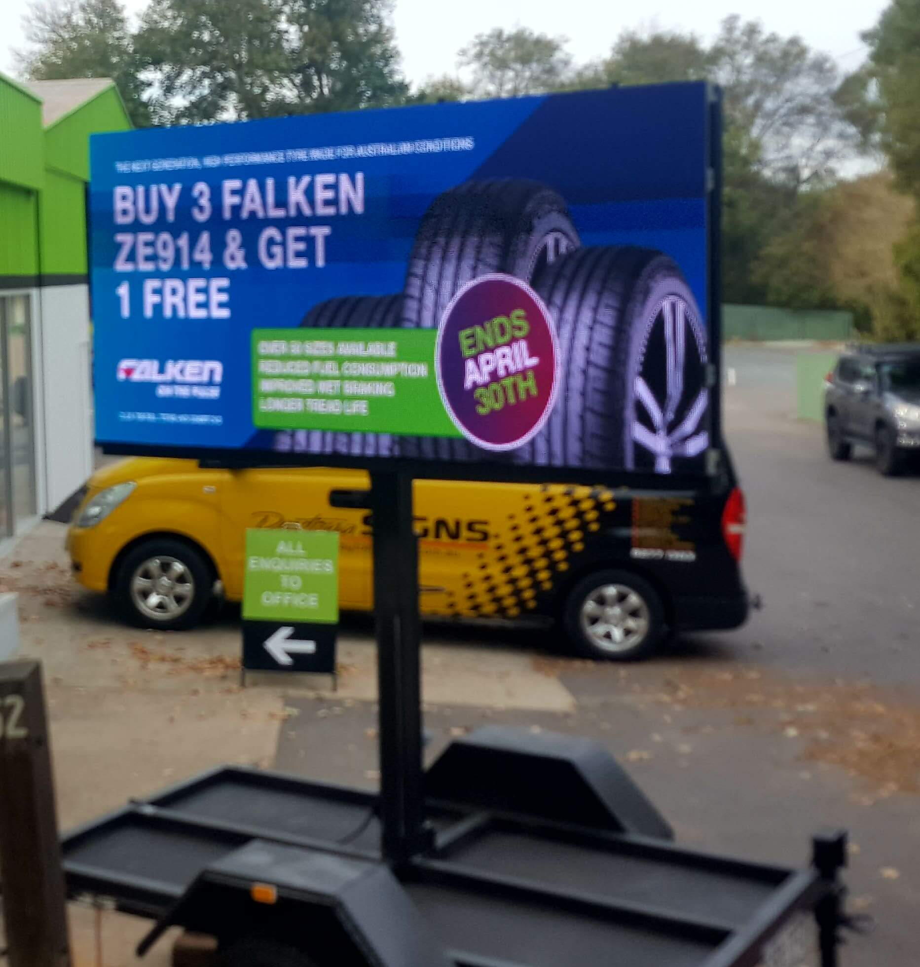 City Discount Tyres, Mt Barker, used Big Vision Screens' giant 16.5 sqm LED Screen to promote their special tyres' discount campaign